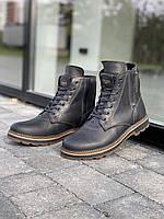 Чоловічі черевики шкіряні зимові чорні Belvas 5507, фото 1