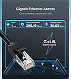 Високоякісний кабель10 Гбіт\с Ethernet RJ45 Cat 7 плоский мережевий кабель Патч-корд Ugreen NW107, фото 3