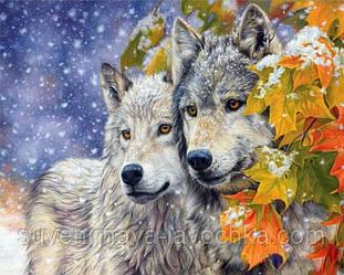 """Повна алмазна вишивка """" Вовки, пара. Перший сніг"""", 30 x 20 див. Квадратні стрази"""