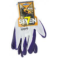 """Рукавиці синт. """"Seven"""" білі з фіолетов. нітриловим покриттям 69204"""