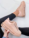 Женские стильные кроссовки бежево- пудровые эко -замш, фото 2