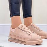 Женские стильные кроссовки бежево- пудровые эко -замш, фото 6