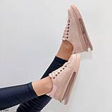 Женские стильные кроссовки бежево- пудровые эко -замш, фото 10