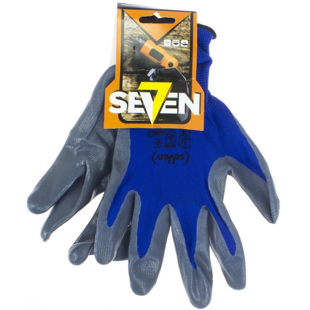 """Рукавиці синт. """"Seven"""" сині з сір. нітриловим покриттям 69051"""