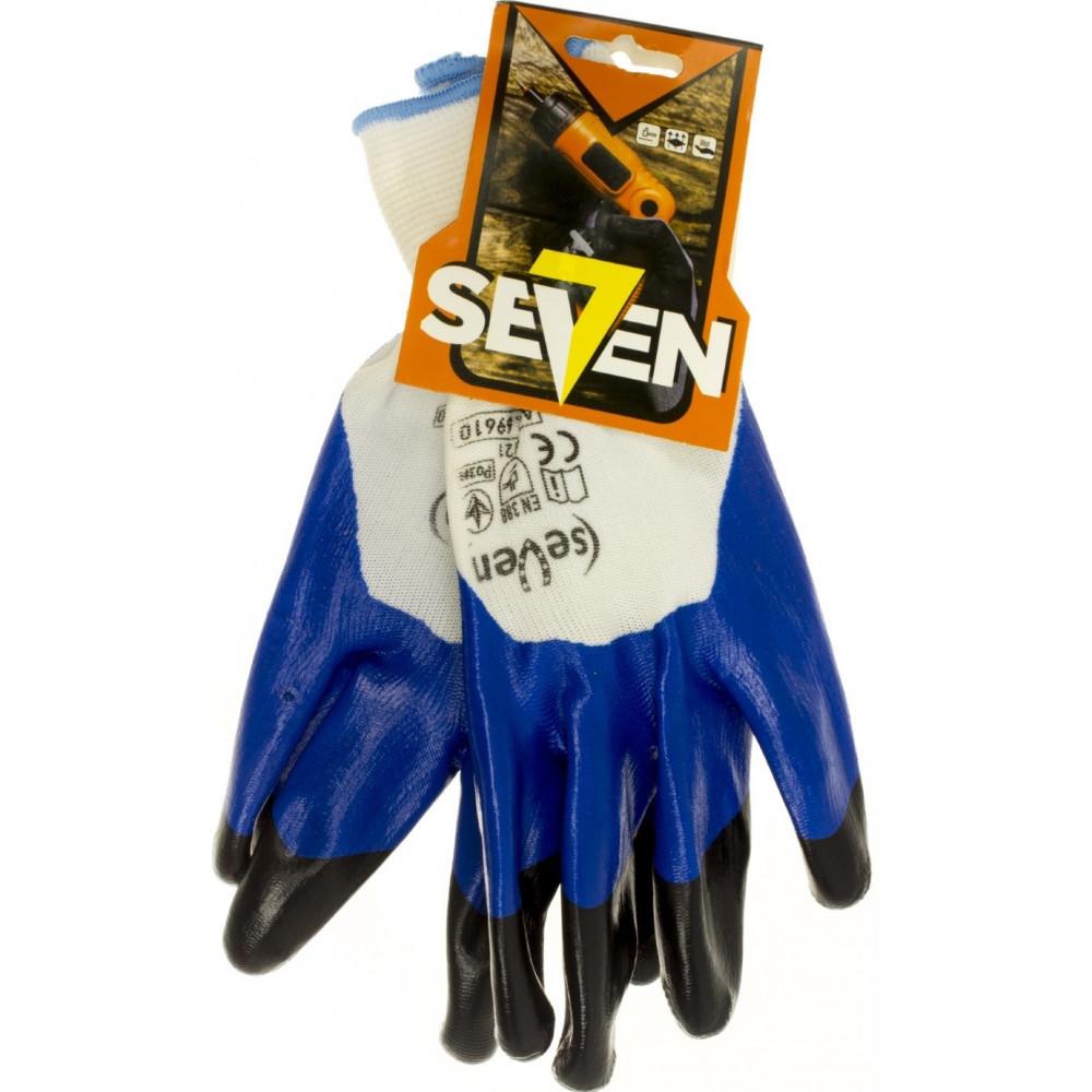 """Рукавиці синт. """"Seven"""" білі з синьо-чорним нітриловим покриттям 10розмір 3/4 69610"""