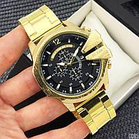 Часы наручные мужские кварцевые в стиле Дизель Золотые с черным циферблатом