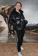 Куртка - жилет черная с капюшоном