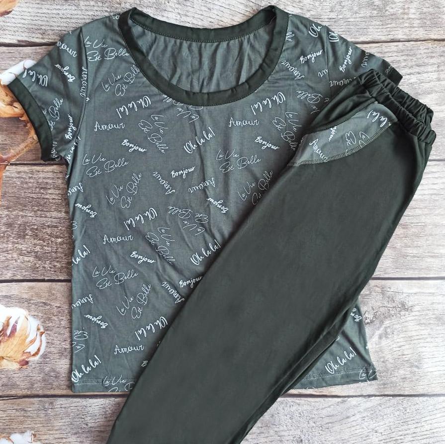 Пижама женская комплект домашний футболка и бриджи Украина