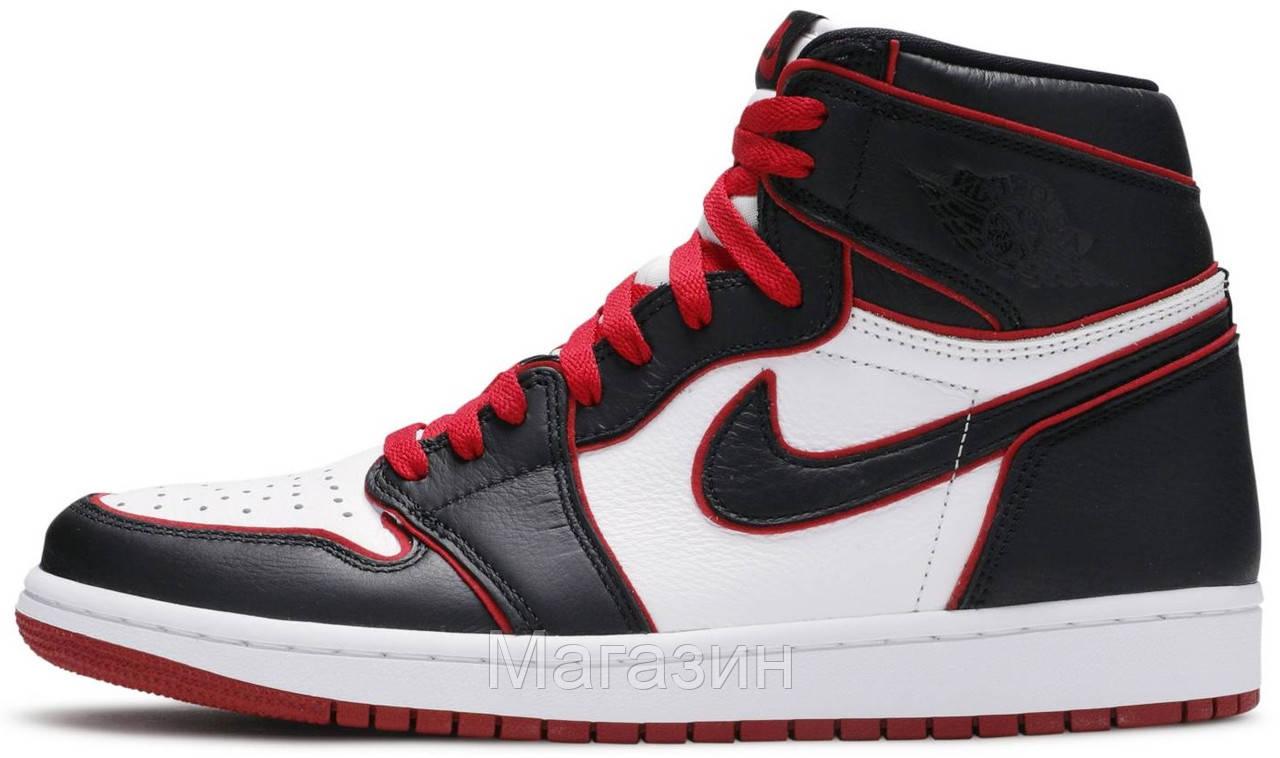 Женские мужские кроссовки Air Jordan 1 Retro Bloodline Black Red White Найк Аир Джордан 1 Ретро 555088-062