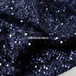 Тканина оксамит з паєтками темно-синій від 10 метрів