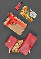 Подарочный набор кожаный красный (кошелек, кард-кейс, брелок) ручная работа