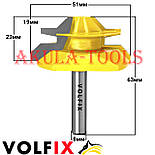 Фреза VOLFIX №4 D51 d8 для кутового зрощування деревини (мікрошип) (марошип) по дереву FZ-120-554 d8, фото 3