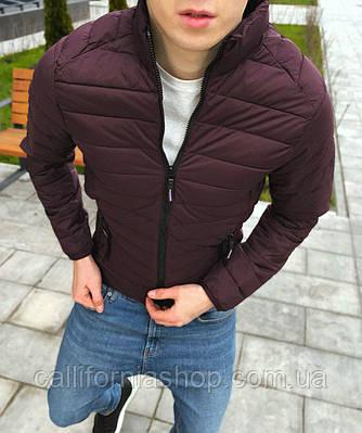 Мужская бордовая куртка стеганая без капюшона с воротником стойка