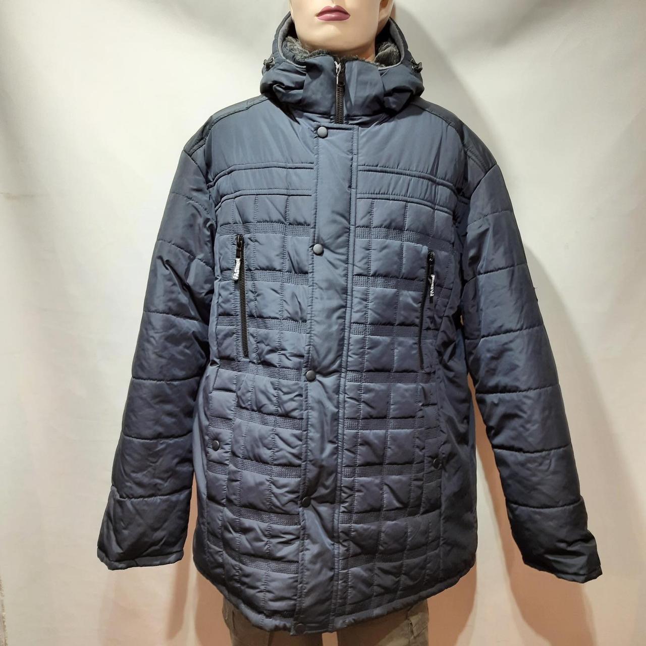 62 р. Чоловіча куртка зимова (Великі розміри) тепла на кашемире з капюшоном чорна Останнє залишилося