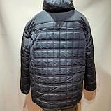 62 р. Чоловіча куртка зимова (Великі розміри) тепла на кашемире з капюшоном чорна Останнє залишилося, фото 5