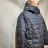62 р. Чоловіча куртка зимова (Великі розміри) тепла на кашемире з капюшоном чорна Останнє залишилося, фото 6