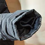 62 р. Чоловіча куртка зимова (Великі розміри) тепла на кашемире з капюшоном чорна Останнє залишилося, фото 7