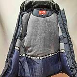 62 р. Чоловіча куртка зимова (Великі розміри) тепла на кашемире з капюшоном чорна Останнє залишилося, фото 9