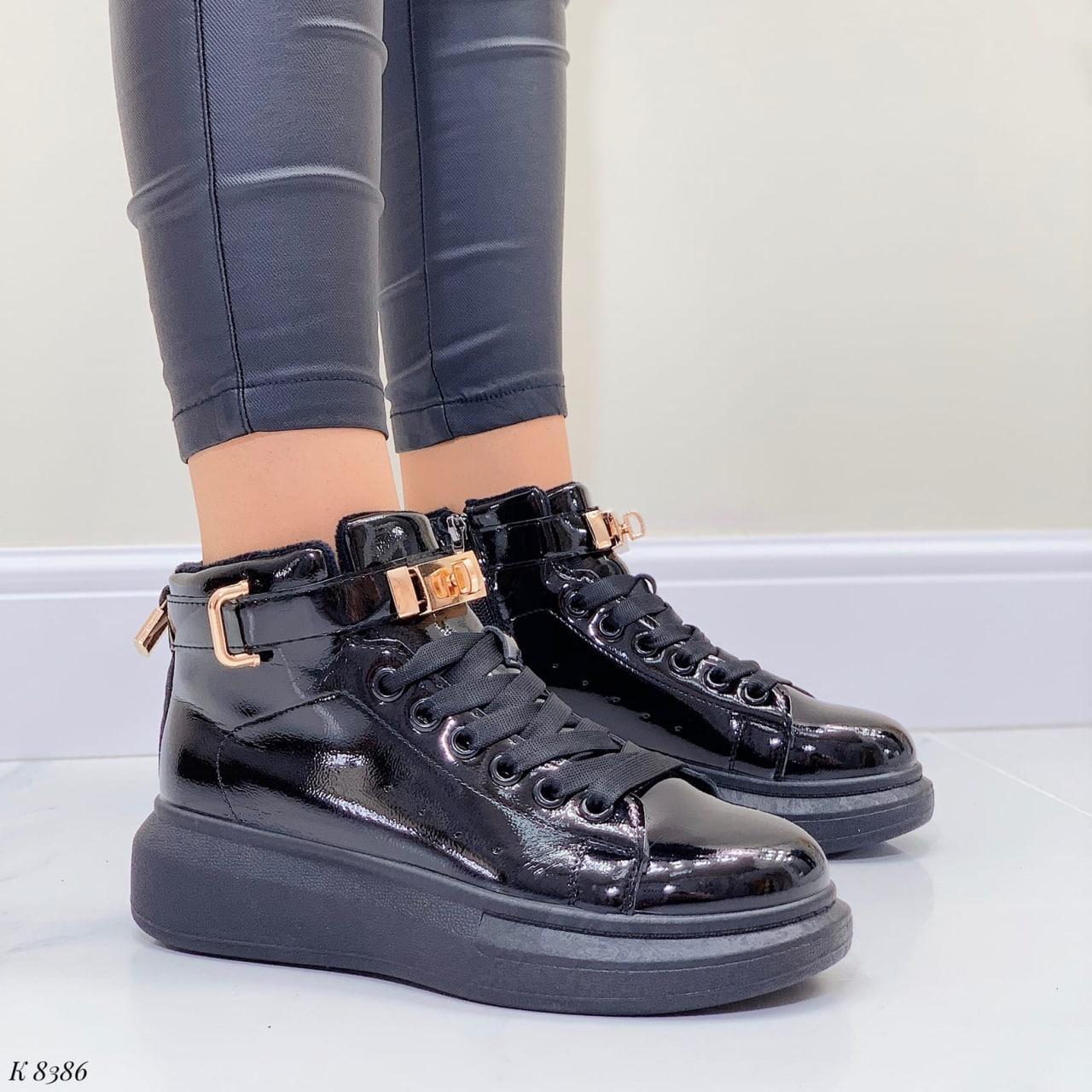Женские кроссовки- хайтопы ДЕМИ черные на платформе эко лак