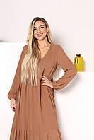 Женское длинное легкое платье свободного кроя