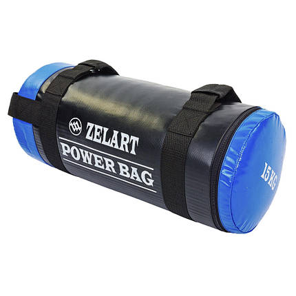 Мешок для кроссфита и фитнеса Zelart FI-5050A-15 Power Bag (PVC, нейлон, вес 15кг, черный-синий), фото 2