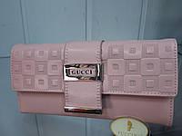 Кошелек женский кожаный Gucci 8220 розовый с тиснением