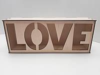 """Коробка для упаковки. Подарочная коробка из фанеры. """"LOVE"""""""