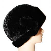 """Норковая шляпа """"Роза"""" (черный)"""