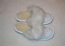 Тапочки кожаные на меху (женские), фото 2