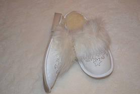 Тапочки кожаные на меху (женские), фото 3
