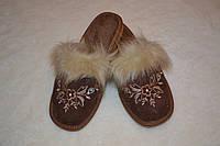 Тапочки кожаные на меху (женские), фото 1