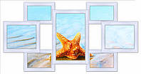 Деревянная рамка коллаж на 7 фото, белая., фото 1