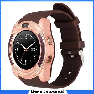 Умные часы Smart Watch V8 сенсорные - смарт часы Золотые