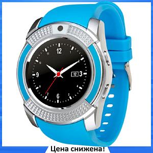 Умные часы Smart Watch V8 сенсорные - смарт часы Синие