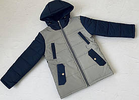 Куртка демисезонная на мальчика Ден светоотражающая синий с серым 122