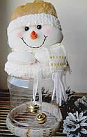 Банка для конфет с мягкой игрушкой Снеговик, 25см