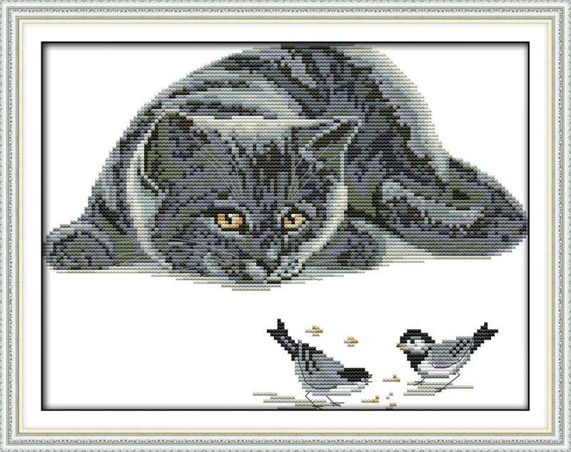 Любопытный кот D658/2 Набор для вышивания крестиком с печатью на ткани 14ст
