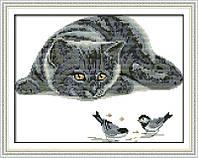 Любопытный кот  Набор для вышивания крестиком с печатью на ткани 14ст
