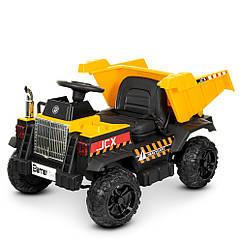 Детский электромобиль Самосвал M 4308 EBLR-6, колеса EVA, кожаное сиденье, желтый