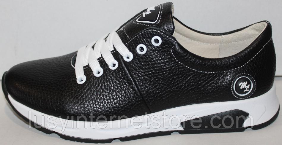 Кроссовки черные женские кожаные малыши от производителя модель ДР109М