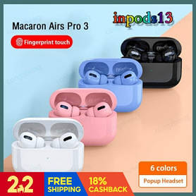 Беспроводные наушники Air Pro 3 в стиле Apple AirPods сенсорные с кейсом Разные цвета + чехол
