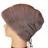 """Норковая шапка """"Стелла Роза"""" (серо-голубой)"""