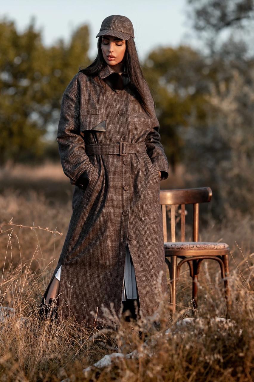 Пальто двобортне в клітку темно-сірого кольору Ріміні 42-48 р