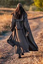 Пальто двобортне в клітку темно-сірого кольору Ріміні 42-48 р, фото 3