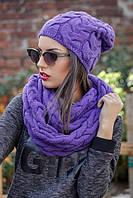 Женская вязаная шапка и шарф-хомут (разные цвета)