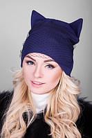Женская шапка с ушками и вуалью (разные цвета)