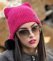 Женская шапка-колпак вязаная с бубоном