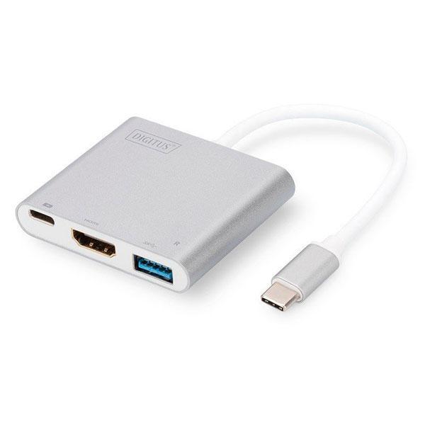 Адаптер OTG Type C (папа) = HDMI (мама)/USB (мама)/Type C (мама) Silver