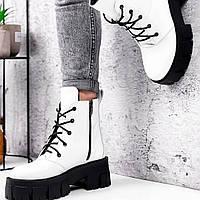 Ботинки из натуральной белой кожи, демисезонные