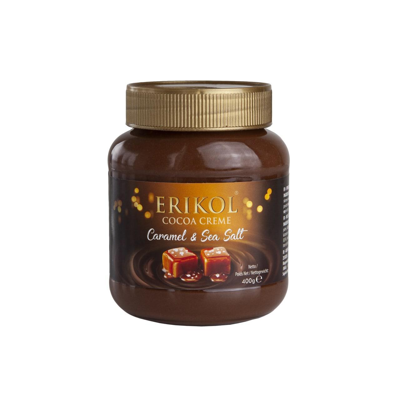 """Шоколадна паста з карамеллю і сіллю """"Erikol cocoa creme caramel sea salt"""" 400мл"""